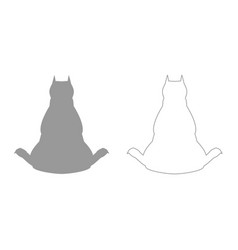 Dog from back view grey set icon vector