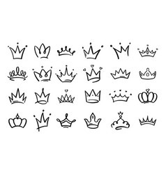 doodle crowns line art king or queen crown sketch vector image