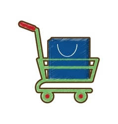 drawing shopping cart online bag gift vector image