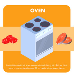 Electric oven cooker flat banner template vector