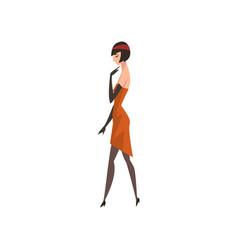Elegant brunette woman in red retro dress vector