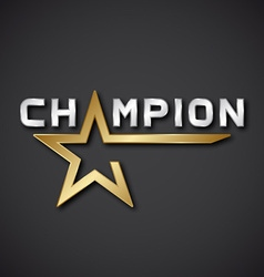 EPS10 champion golden star inscription icon vector