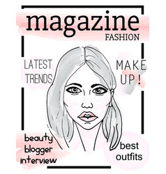 Fashion magazine cover with girls face vector