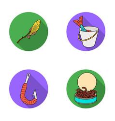 Fishing fish shish kebab fishing set collection vector