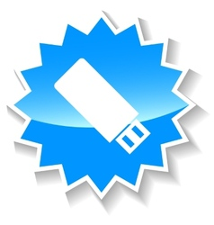 Flash drive blue icon vector