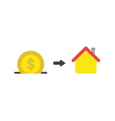 flat design concept of dollar money coin into vector image