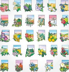 Flowers icon set vector image
