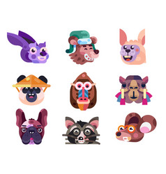Funny animal heads and faces icons in flat vector
