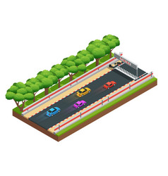 Gaming speedway isometric composition vector