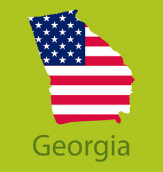 Georgia state of america with map flag print vector