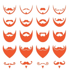 Ginger beard with moustache or mustache icons vector image