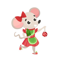 Girl mouse in a red dress on vector