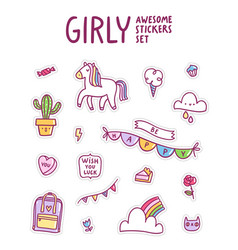 girly awesome sticker set vector image