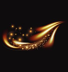 golden light line luxury luminous wave magic vector image