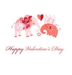 Greeting card in love with elephants vector
