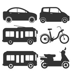 Ground transport silhouettes icons vector
