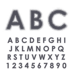 halftone alphabet and numbers vector image