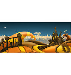 Halloween background Cartoon landscape panorama 3d vector