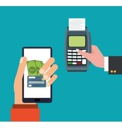 Hand holds smartphone dataphone payment online vector
