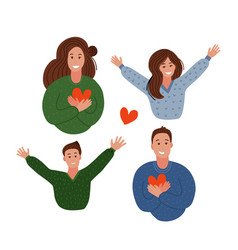 happy family parents holding hearts and children vector image