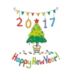 Happy New Year greeting card with fir vector