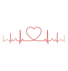 heartbeat rhythm with heart one line a vector image