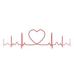 Heartbeat rhythm with heart one line vector