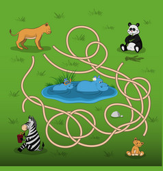 Help the lioness to find baby in the maze vector