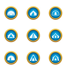 Hipped roof icons set flat style vector