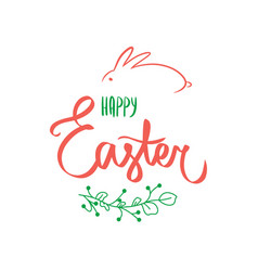 holiday invitation green red sign happy easter vector image