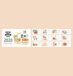 Home sweet 2020 calendar template vector