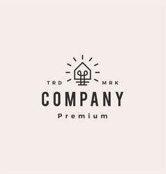 house bulb smart idea think hipster vintage logo vector image