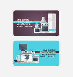 Household appliances electronic business card vector