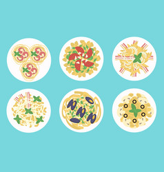 italian pasta and spaghetti meals set vector image