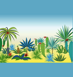landscape with different tropical plants and trees vector image