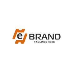 Letter e logo design as a ticket vector