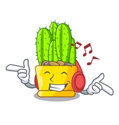 Listening music cereus cactus in a pot cartoon vector