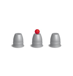 Magic cups game with red ball set vector image
