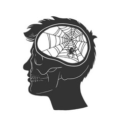 Man with no brain sketch engraving vector