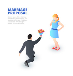 Marriage proposal concept with kneeling man and a vector