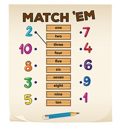 Matching game with numbers vector