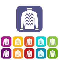Men sweater icons set vector