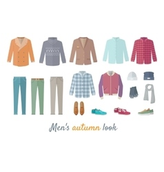 Mens Autumn Look Apparel Set Clothing Outerwear vector