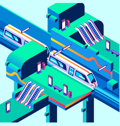 Metro train station isometric vector