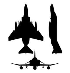 military fighter jet aircraft silhouette vector image