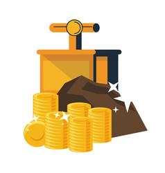 Mining gold coins and tnt detonator vector