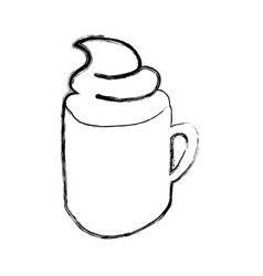 Monochrome sketch hand drawn with coffee cup with vector