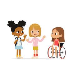 Multiracial children greeting newcomer girl vector
