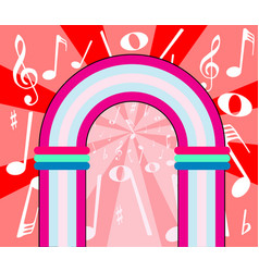 Musical notes archway vector