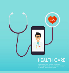Online medical consultation concept flat design vector